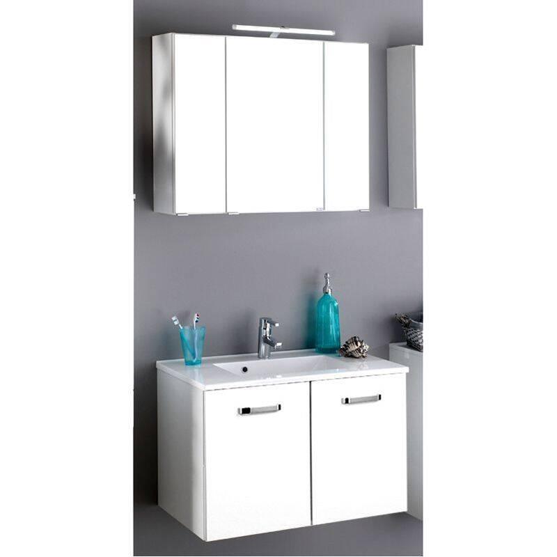 Badmöbel Waschtisch Set PADUA-03 Hochglanz weiß, Waschplatzbreite wählbar von 60-100cm
