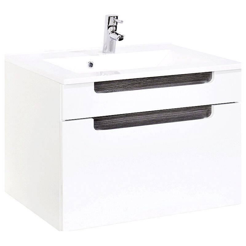 Waschtisch 80cm MERANO-03 Hochglanz weiß, Eiche rauchsilber