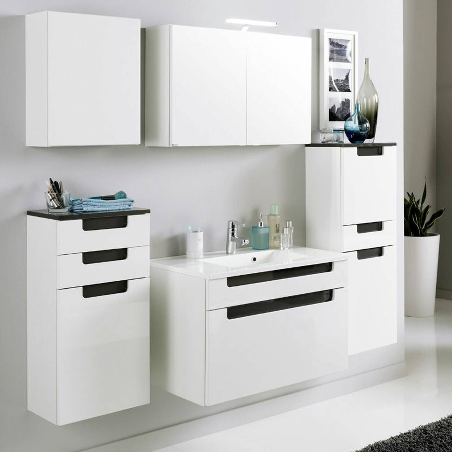 unterschrank merano 03 hochglanz wei grau b. Black Bedroom Furniture Sets. Home Design Ideas
