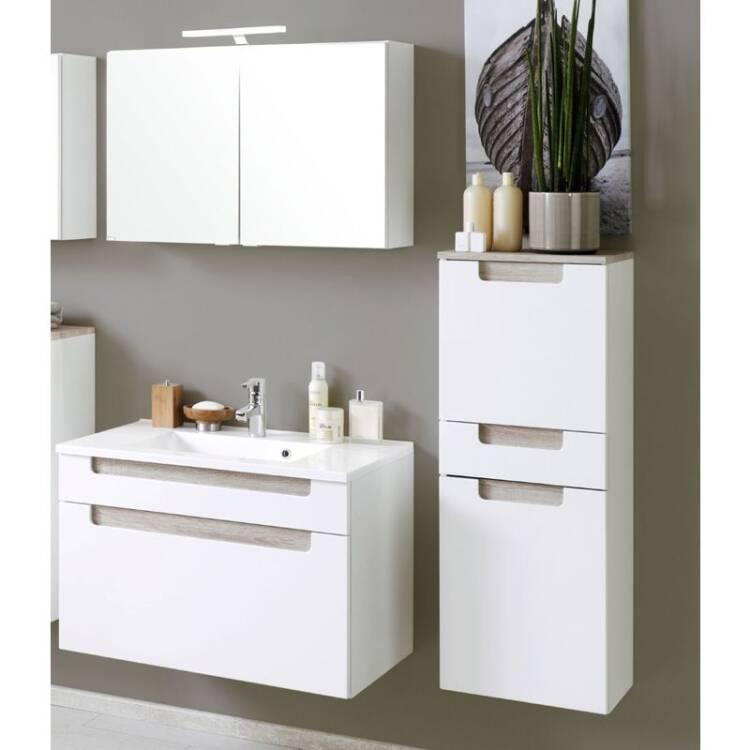 badm bel set merano 03 hochglanz wei eiche sonoma. Black Bedroom Furniture Sets. Home Design Ideas