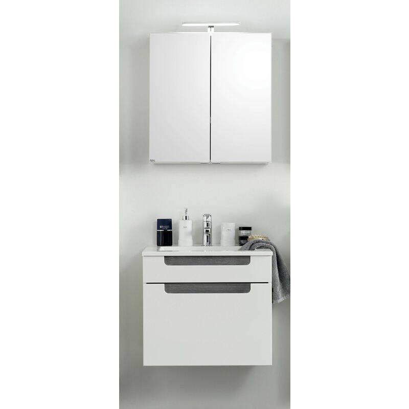 Badmöbel Waschplatz Set MERANO-03 Hochglanz weiß, Eiche rauchsilber, 2-teilig, B=60cm