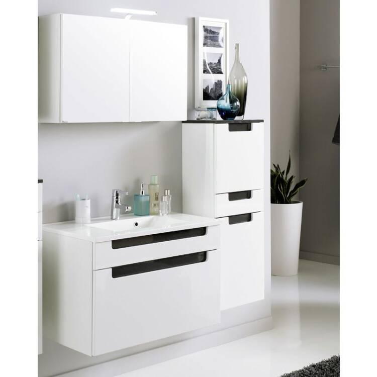 badm bel set merano 03 hochglanz wei grau 3 teilig. Black Bedroom Furniture Sets. Home Design Ideas